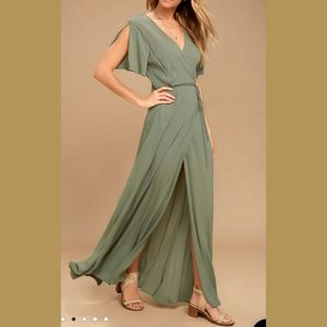 Lulus Much Obliged Wrap Maxi Dress Olive Green